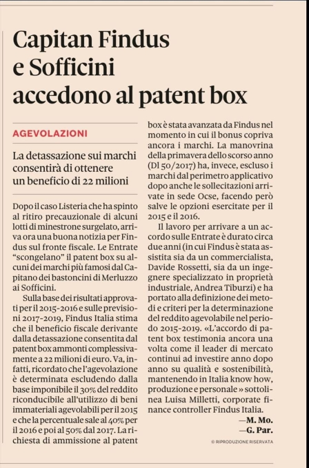 Capitan Findus e Sofficini accedono al patent box